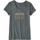 Patagonia Femme Fitz Roy Cotton V-Neck T-Shirt Women Nouveau Green